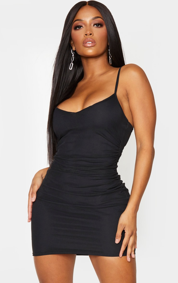 Shape Black Ruched Side Bodycon Dress 1