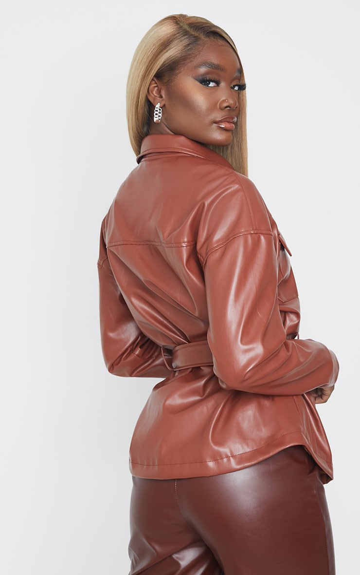 Tall Chocolate Faux Leather Belt Detail Jacket 2