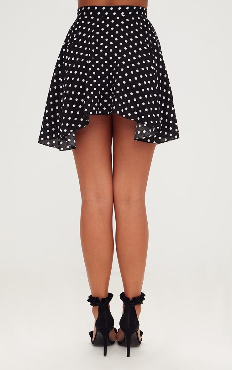 Black Polka Dot Floaty Mini Skirt 4