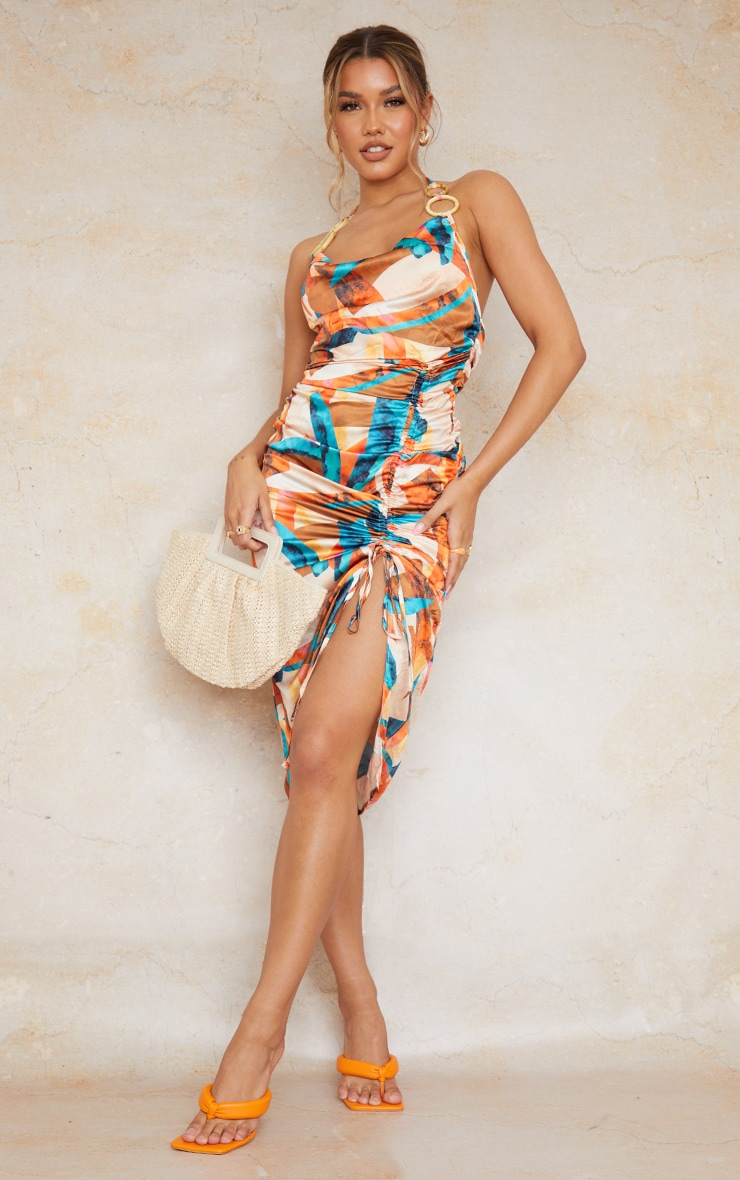 Multi Abstract Print Satin Halterneck Ring Detail Ruched Midi Dress 1