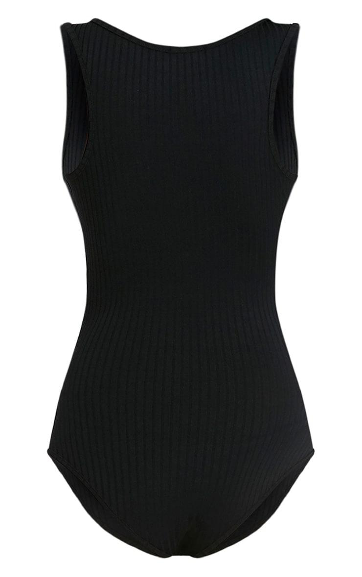 Marria Black Ribbed Bodysuit 4