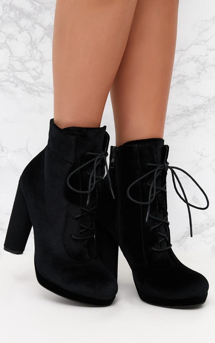 Black Velvet Lace Up Heeled Ankle Boot 1