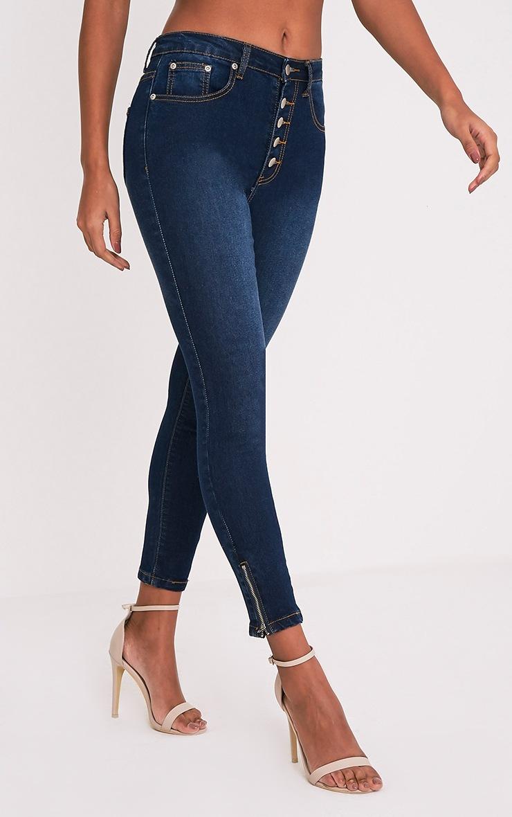 Khloe jean skinny taille haute à boutons délavage foncé 4