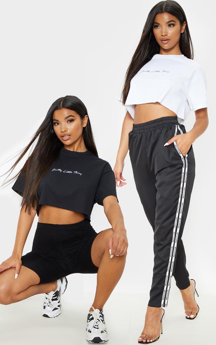 PRETTYLITTLETHING Black & White Slogan 2 Pack Crop T Shirt 1