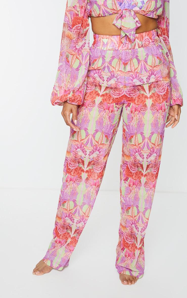 Pantalon de plage ample lilas imprimé 2
