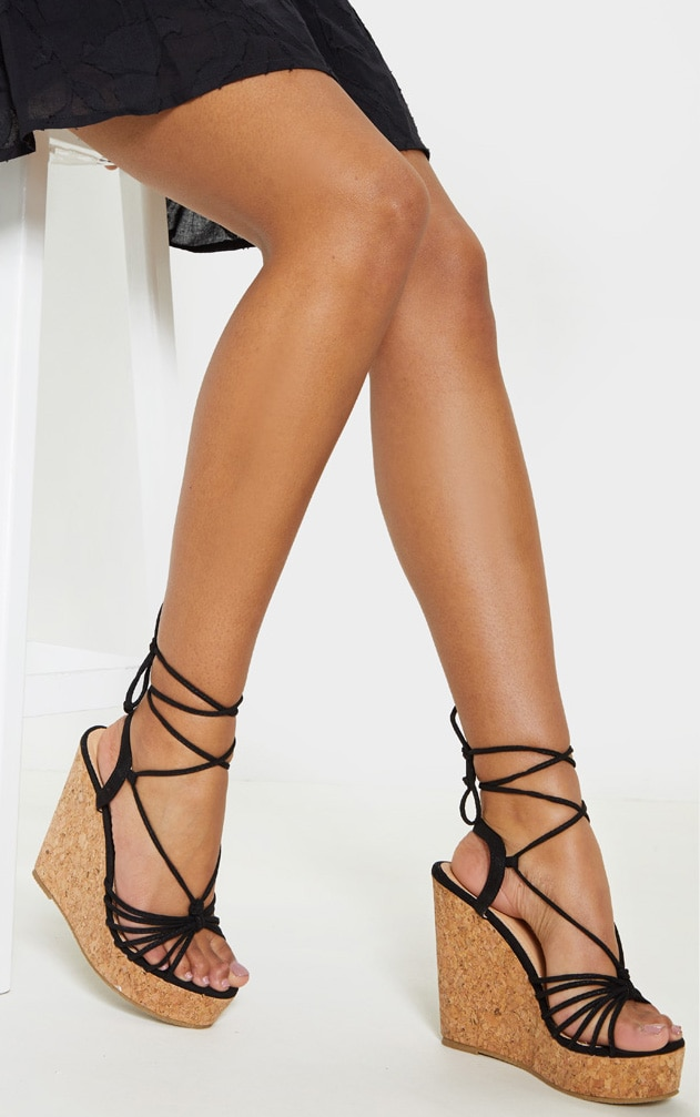 Black Strappy Lace Up Cork Wedge 1