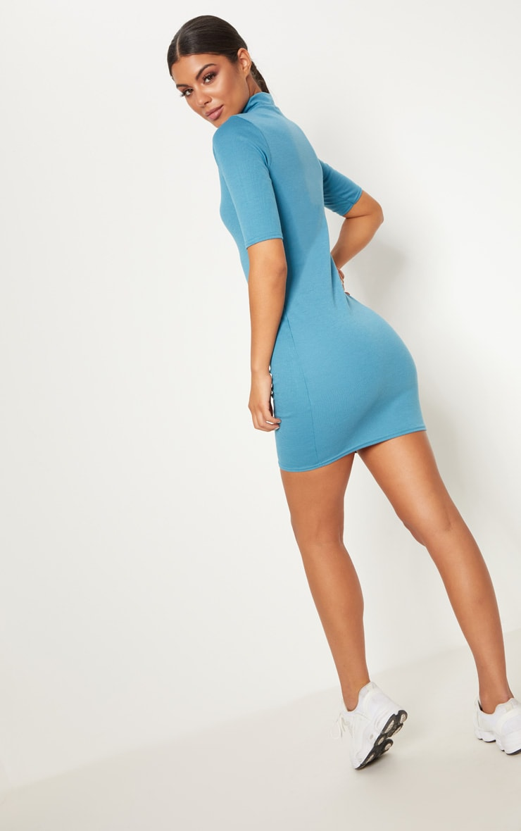 Mineral Blue Zip Detail Bodycon Dress 4