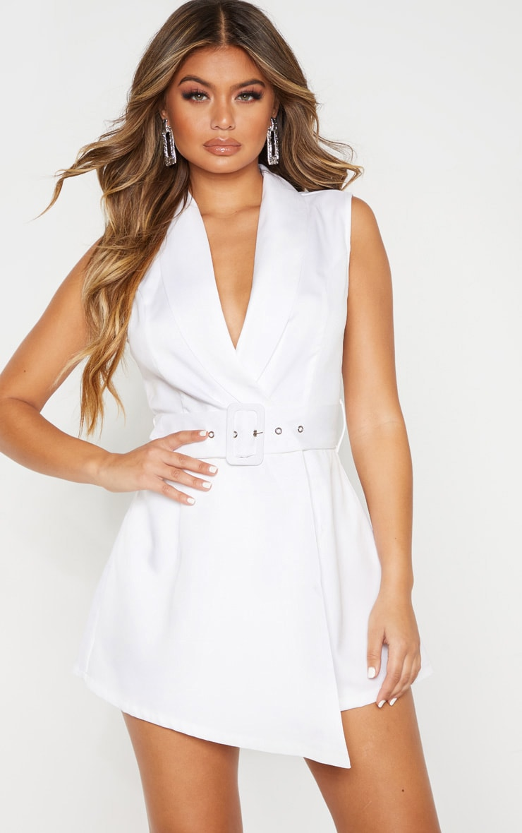 White Tailored Belted Playsuit 1