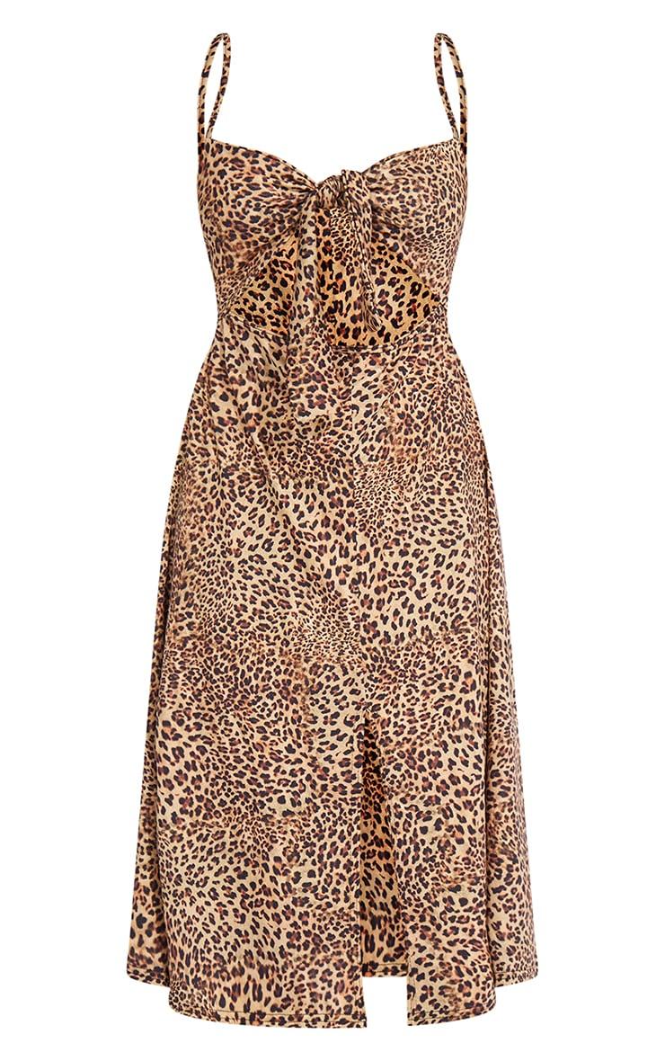 Petite Leopard Tie Front Strappy Swing Dress 4