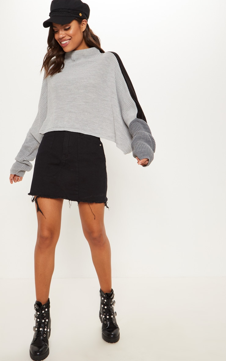 Black Oversized Colour Knitted Block Jumper  3