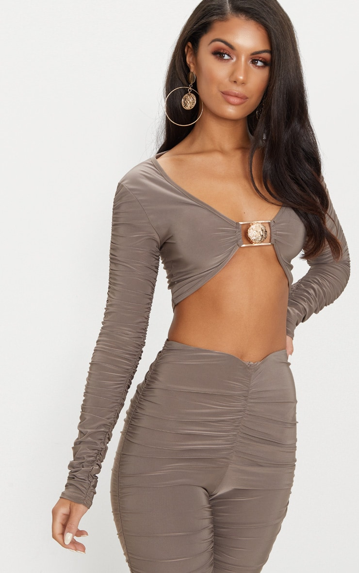 Mocha Lion Clasp Slinky Ruched Long Sleeve Crop Top  1