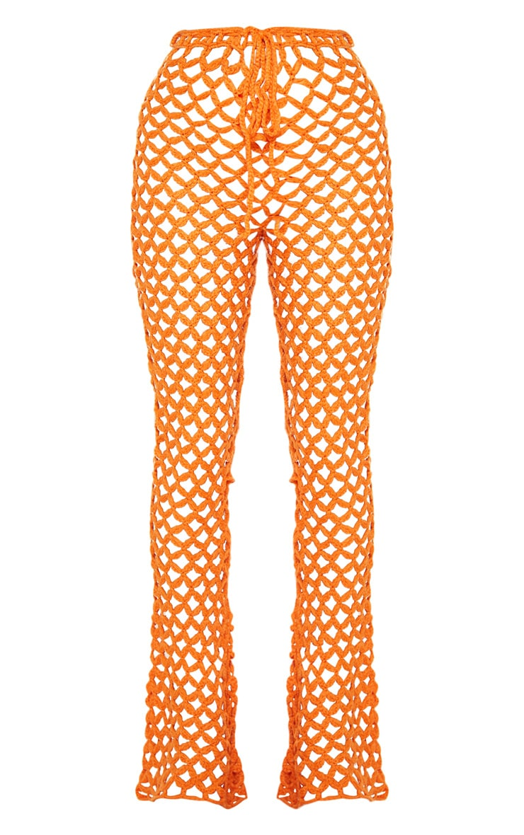 Pantalon flare en crochet orange 6