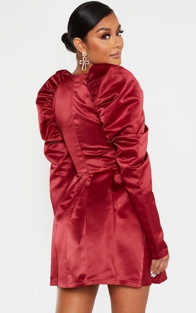 Burgundy Bonded Satin Cup Detail Puff Sleeve Skater Dress
