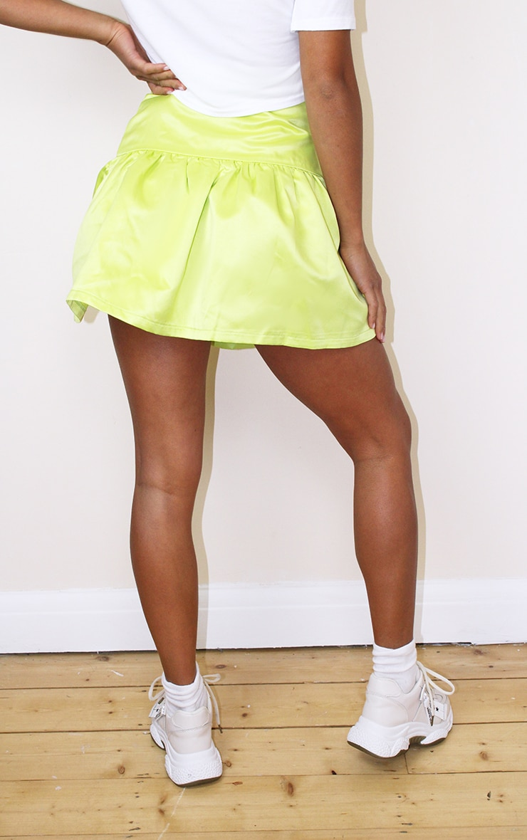 Petite Lime Satin Flippy Hem Mini Skirt 3