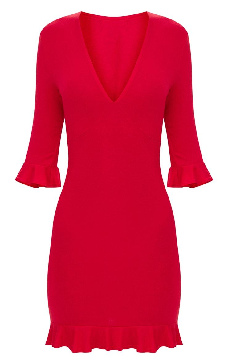 Red Frill Hem Shift Dress 3