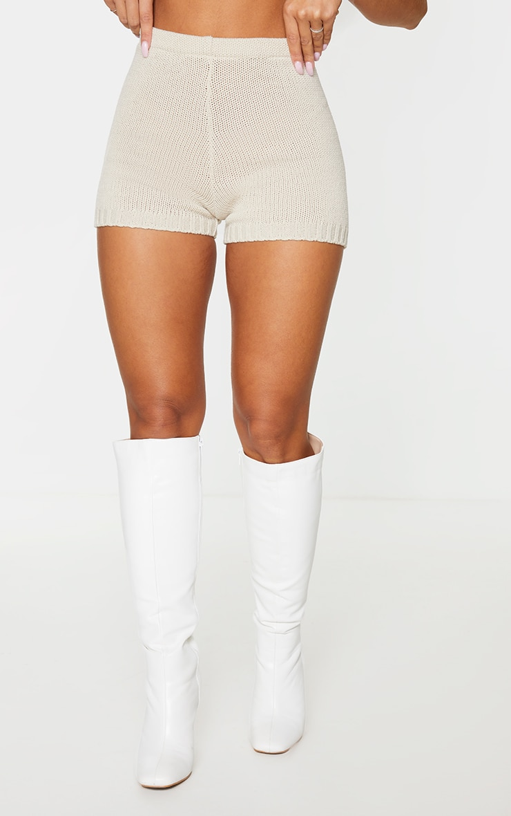 Cream Knitted High Waisted Short 2
