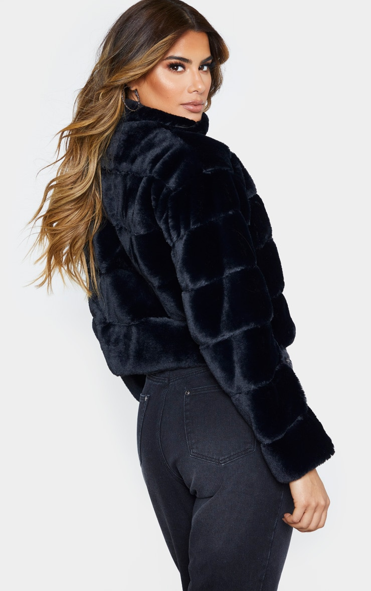 Tall Black Faux Fur Bomber Jacket 2