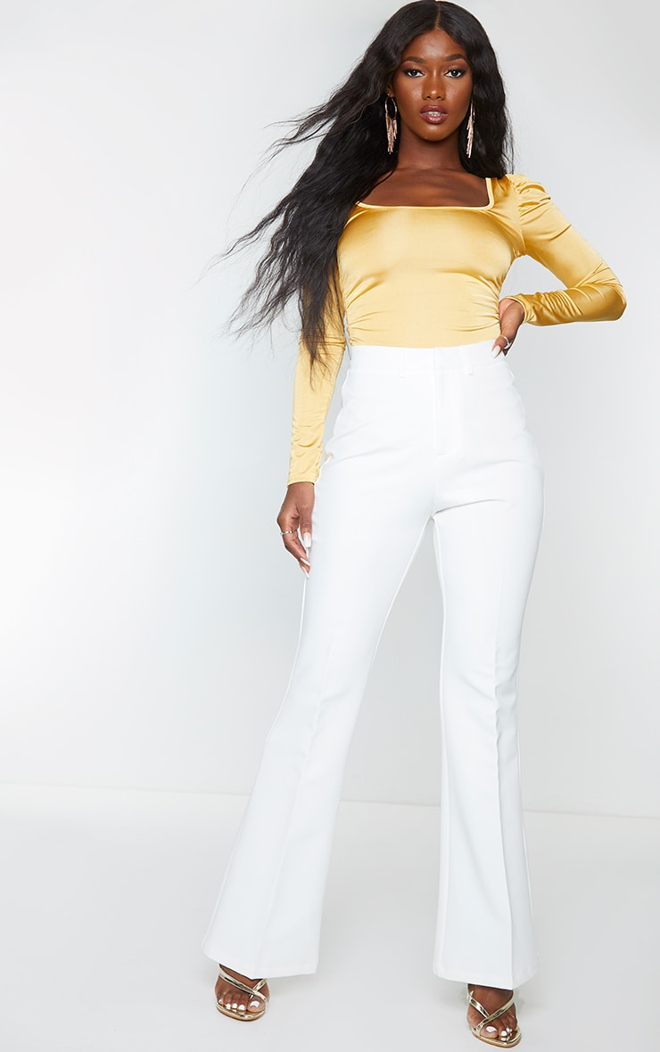Gold Stretch Satin Ruched Detail Long Sleeve Bodysuit 3