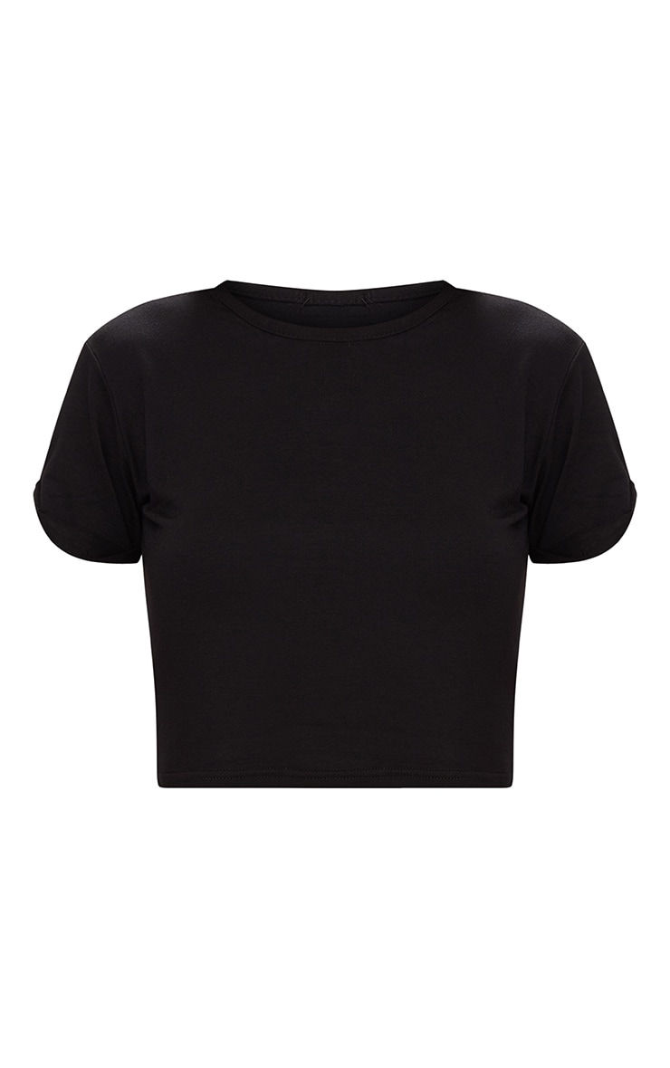 Basic Black Roll Sleeve Crop T Shirt 3