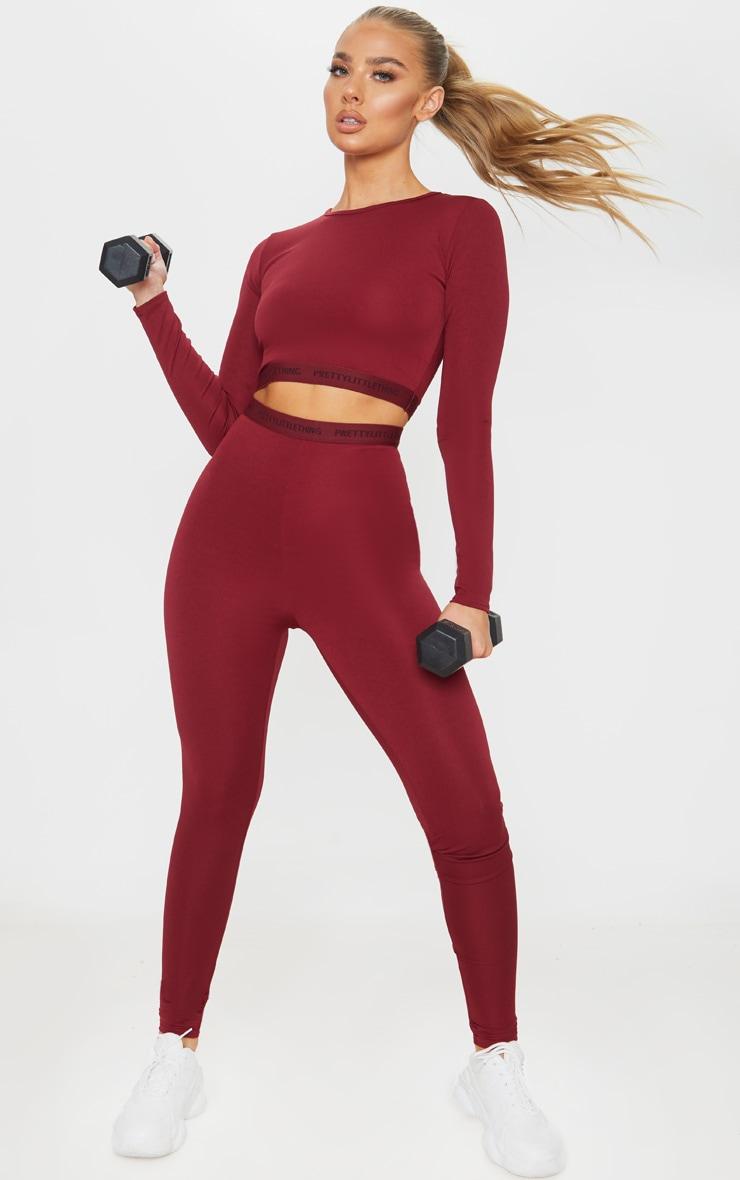 PRETTYLITTLETHING Berry Sport Gym Leggings 1