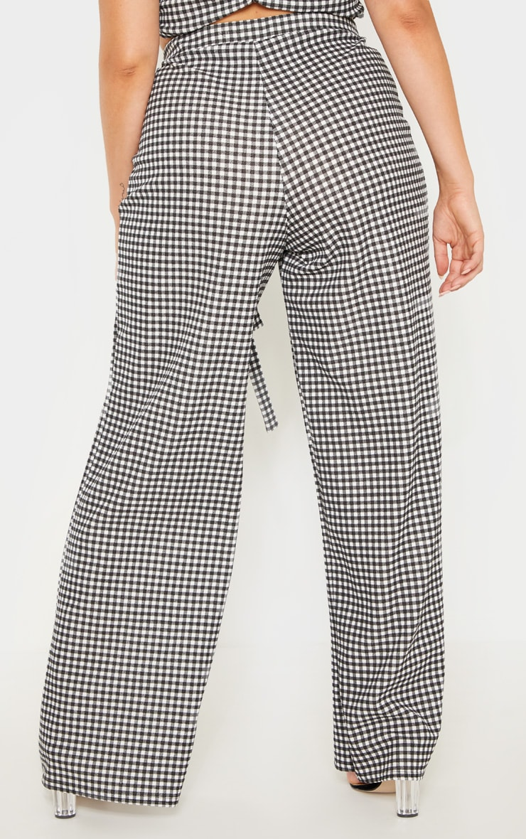 Plus Black Gingham Check Tie Waist Wide Leg Trouser  4