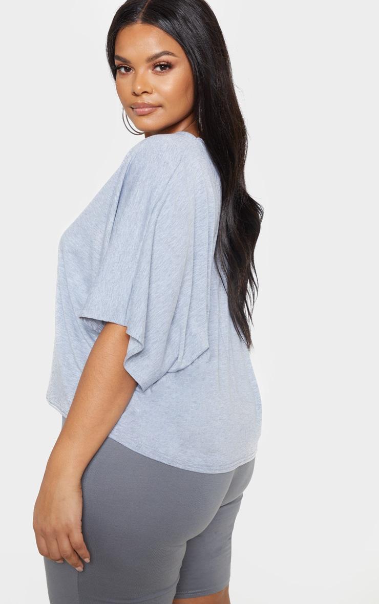 PLT Plus - T-shirt basique en jersey gris chiné à manches chauve-souris 2