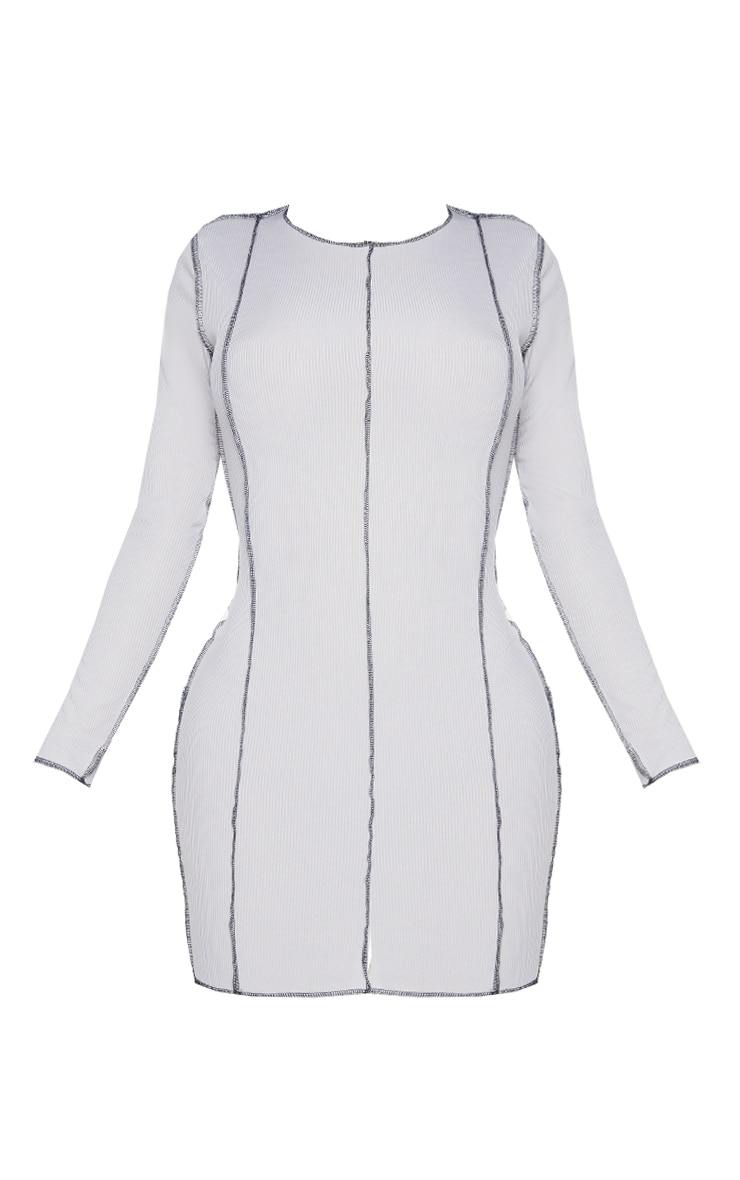Shape Grey Rib Overlock Seam Detail Bodycon Dress 5