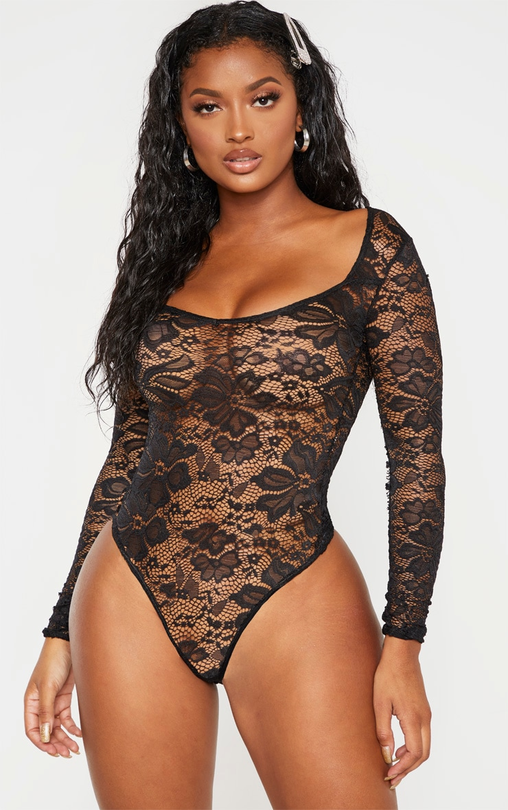 Shape Black Lace V Neck Long Sleeve Bodysuit 2