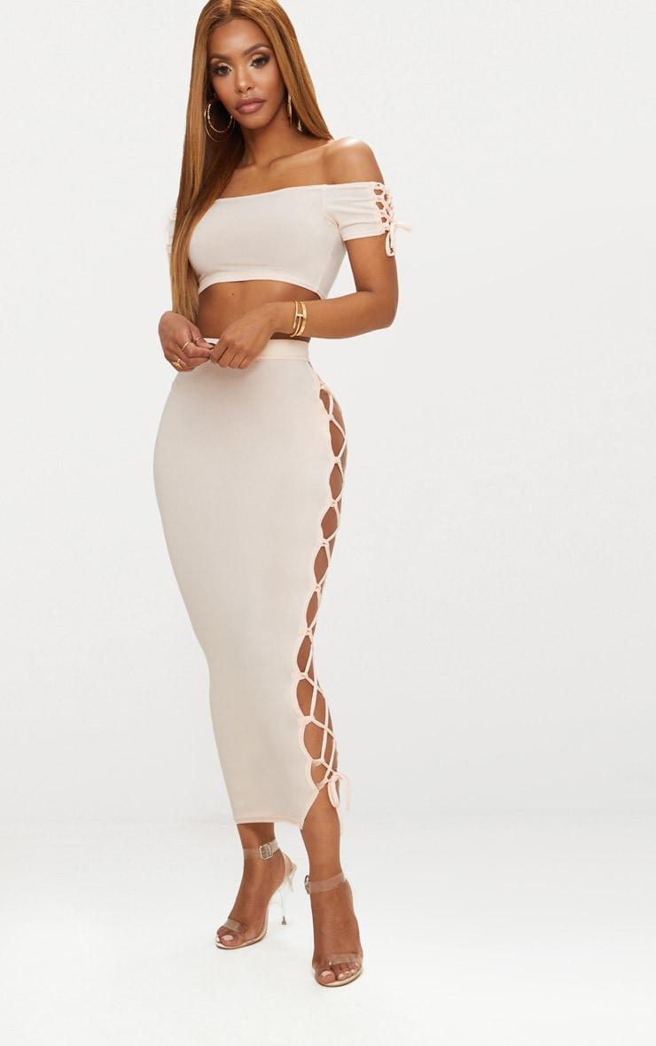 Shape Nude Slinky Lace Up Detail Bardot Crop Top 4