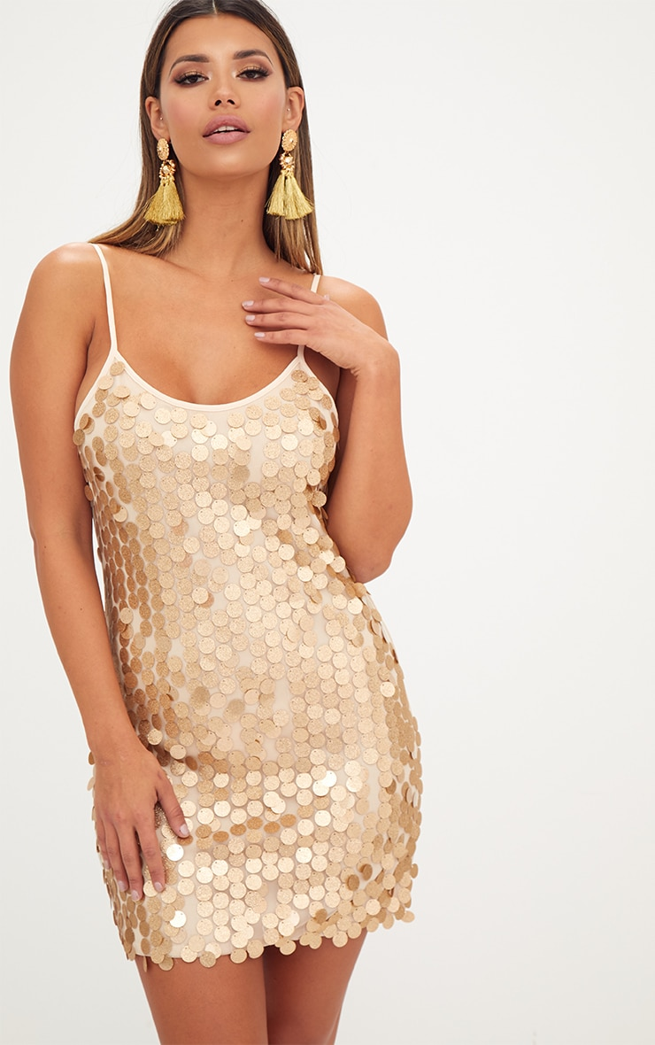 Gold Glitter Sequin Front Cami Dress  1