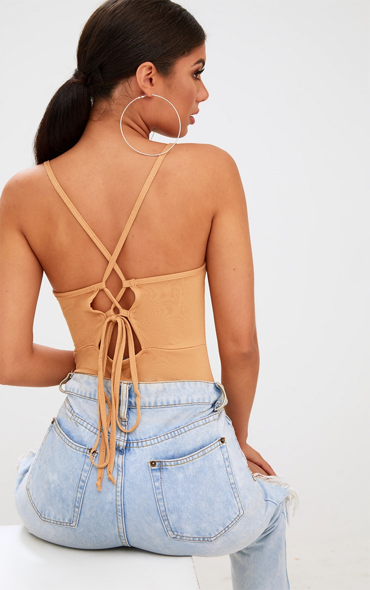 Camel Lace Up Back Thong Bodysuit 1