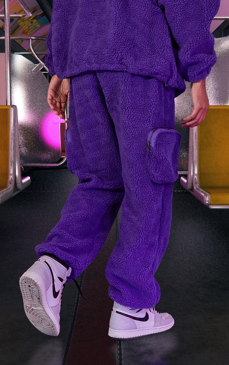 Purple Unisex Borg Joggers 4