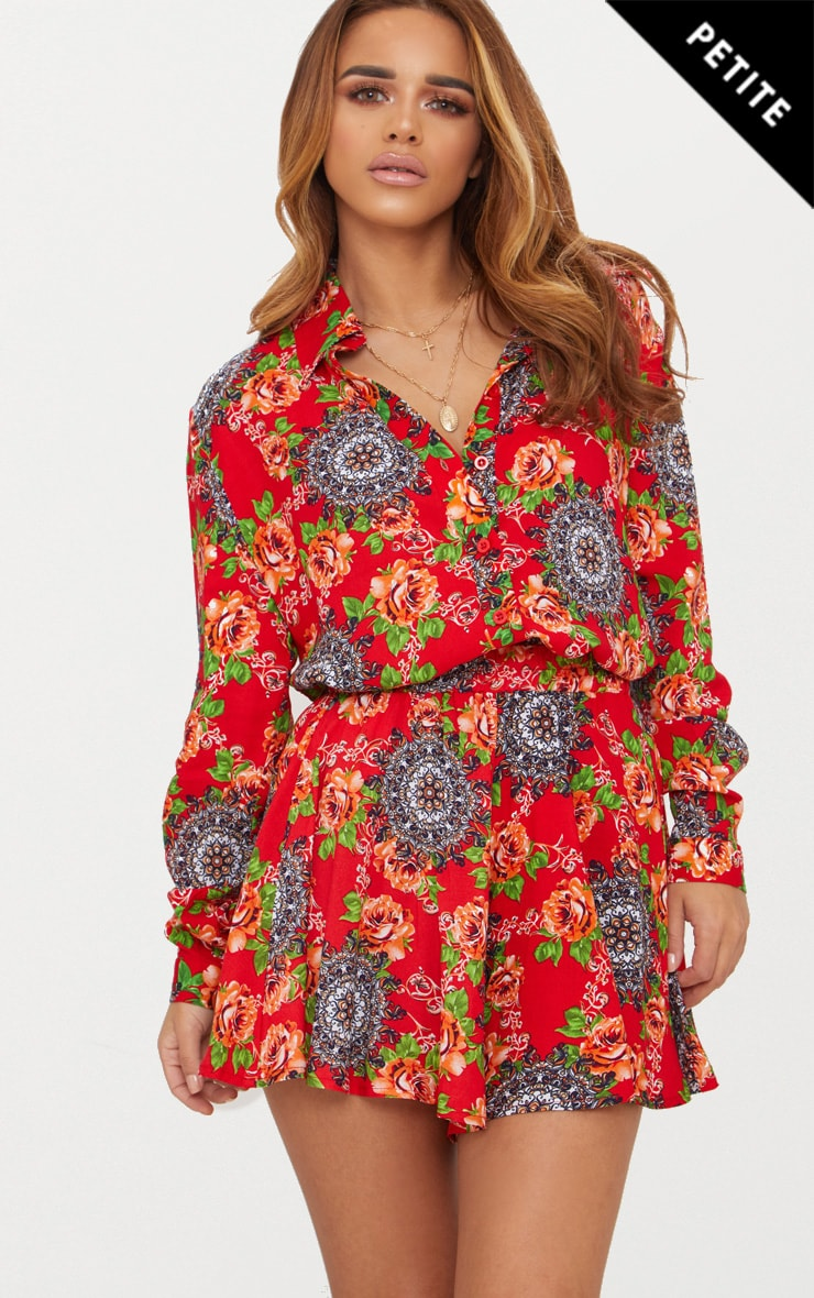 Petite Red Floral Oversized Shirt 1