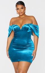Plus Teal Velvet V Bar Bodycon Dress 3