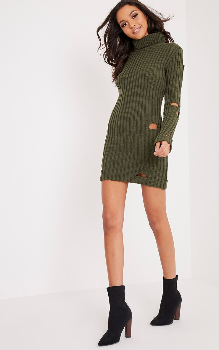 Roschan Khaki Distressed High Neck Knitted Mini Dress 5