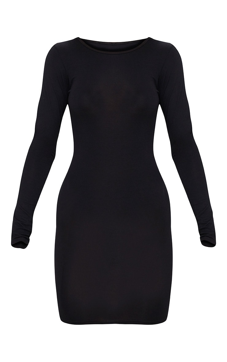 Basic Black Jersey Long Sleeve Bodycon Dress 3