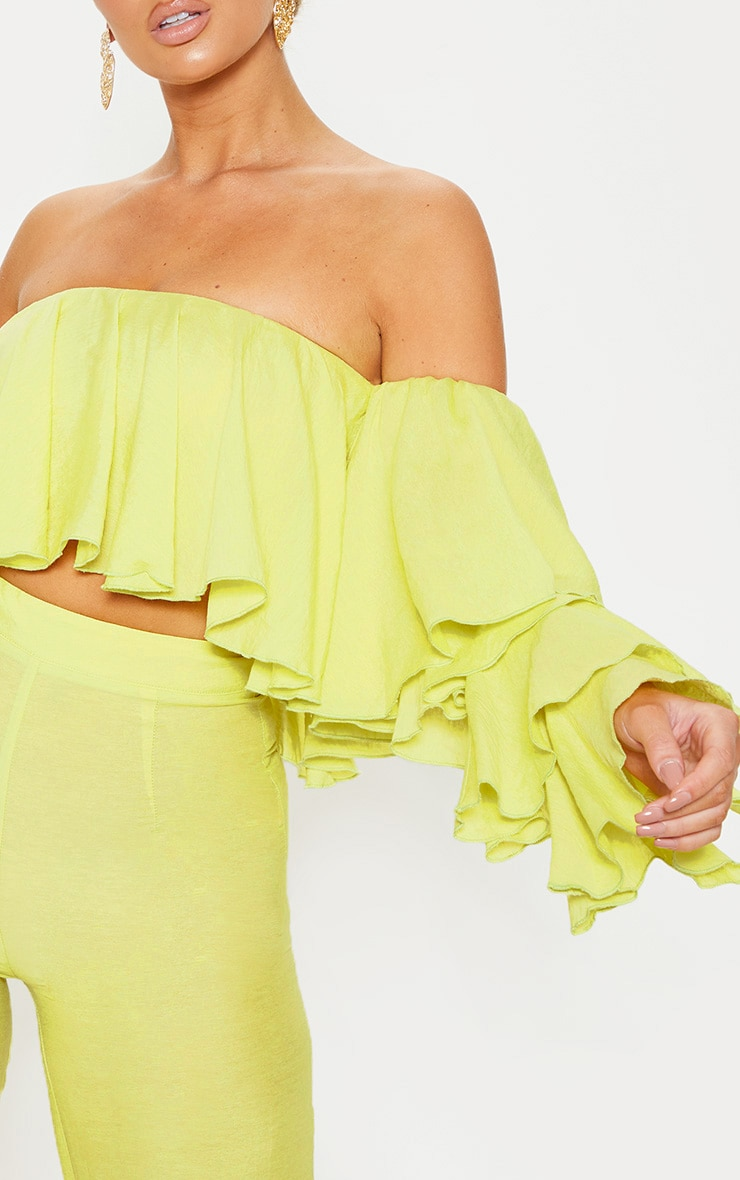 Lime Woven Bardot Tiered Sleeve Crop Top 5