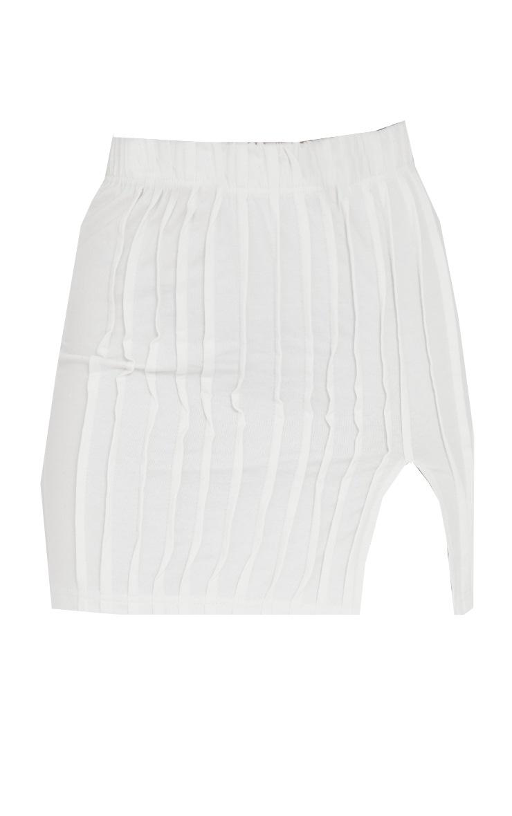 Cream Seam Detail Split Hem Mini Skirt 6