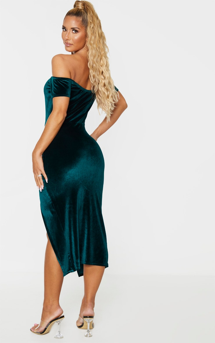 Emerald Green Velvet Bardot Ruched Skirt Midi Dress 2