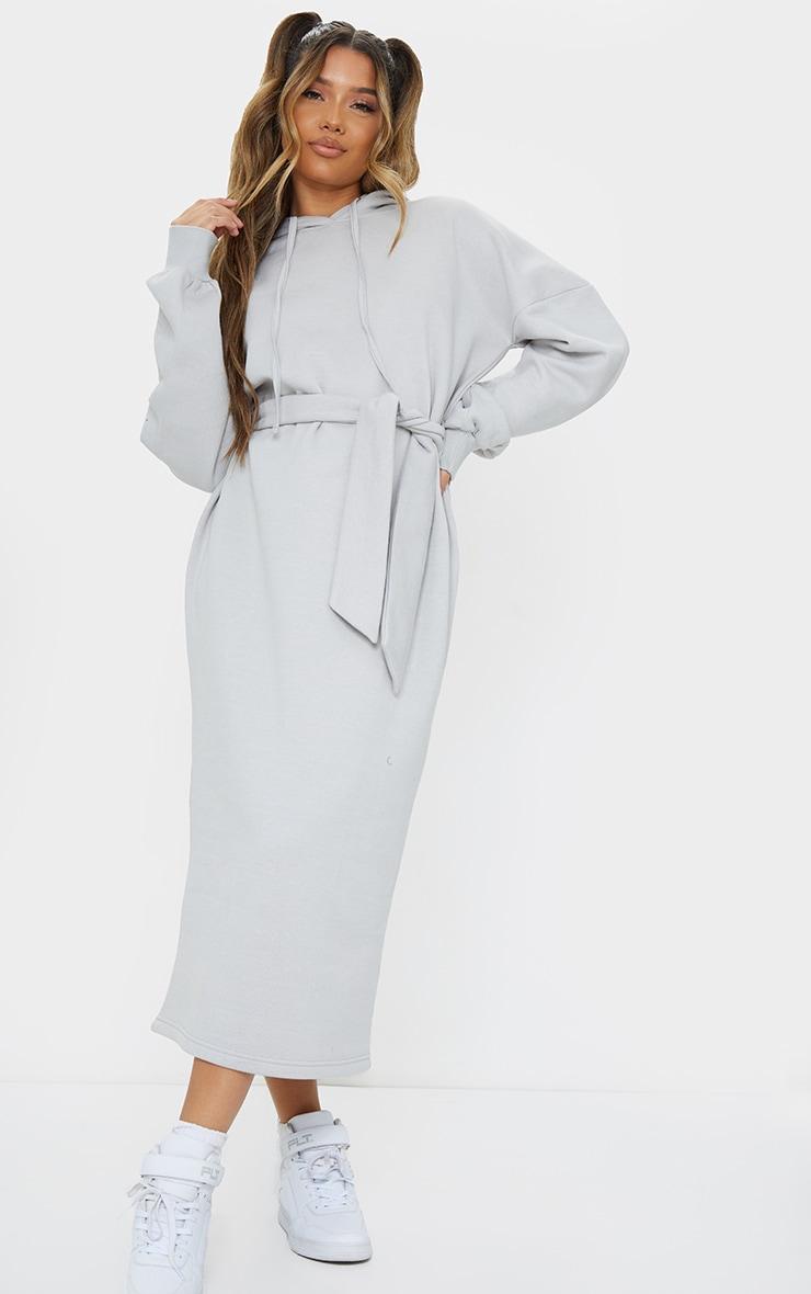 Grey Waist Tie Long Sleeve Midi Sweat Jumper Dress 1