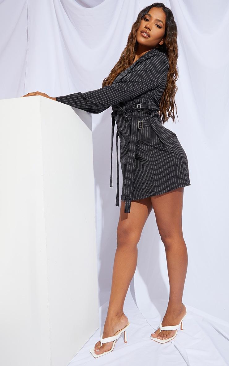 Black Pinstripe Buckle Detail Blazer Dress 3