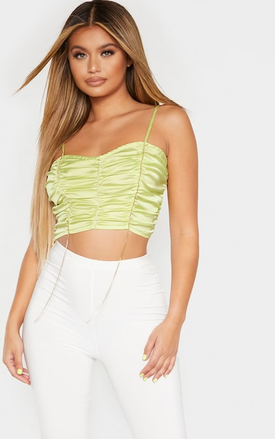 Lime Satin Ruched Diamante Trim Crop Top