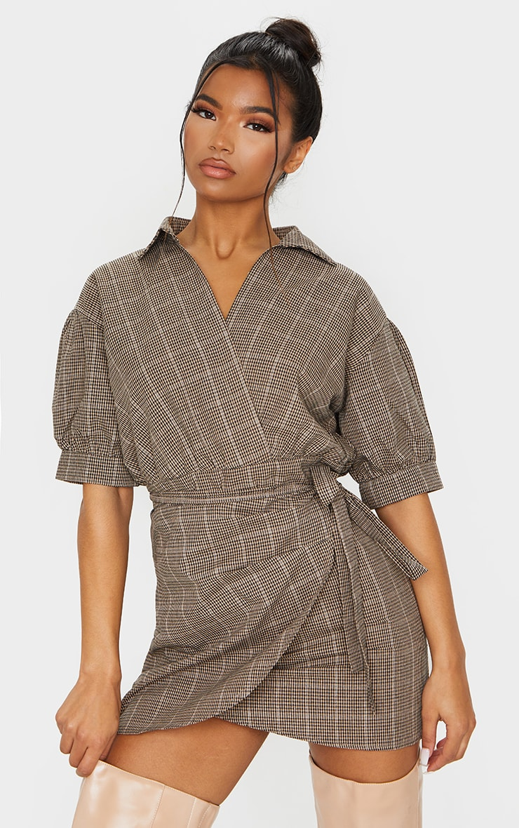 Beige Check Print Puff Sleeve Wrap Front Bodycon Dress 1