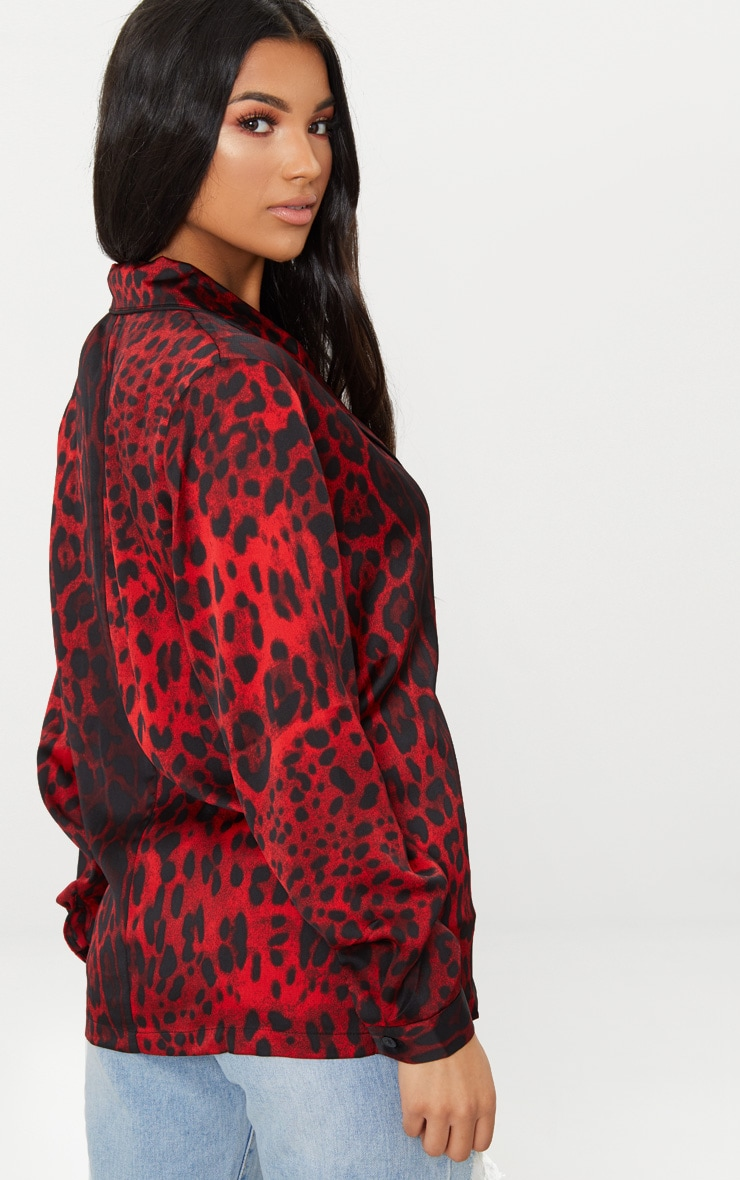 Red Leopard Contrast Piping Oversized Shirt 2