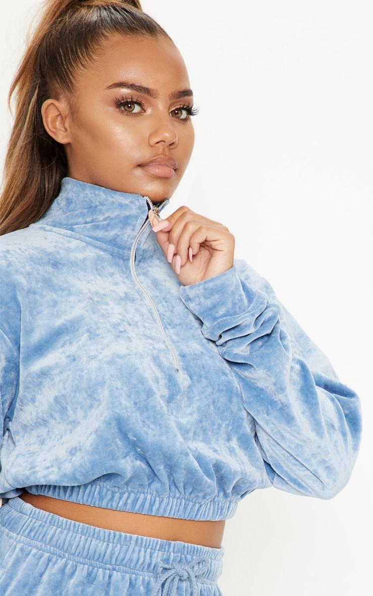Pale Blue Velour Crop Zip Up Jacket 5