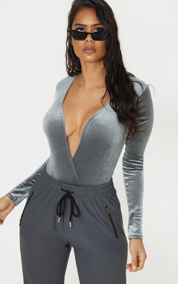Dark Grey Plunge Velvet Long Sleeve Bodysuit by Prettylittlething