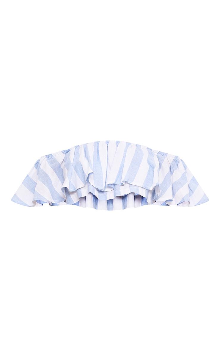Sophina Cotton Blue Stripe Bardot Crop Top 3