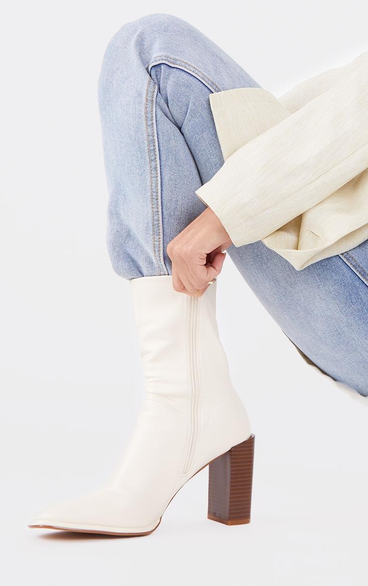 Cream Round Toe Block Heel Ankle Boots 2