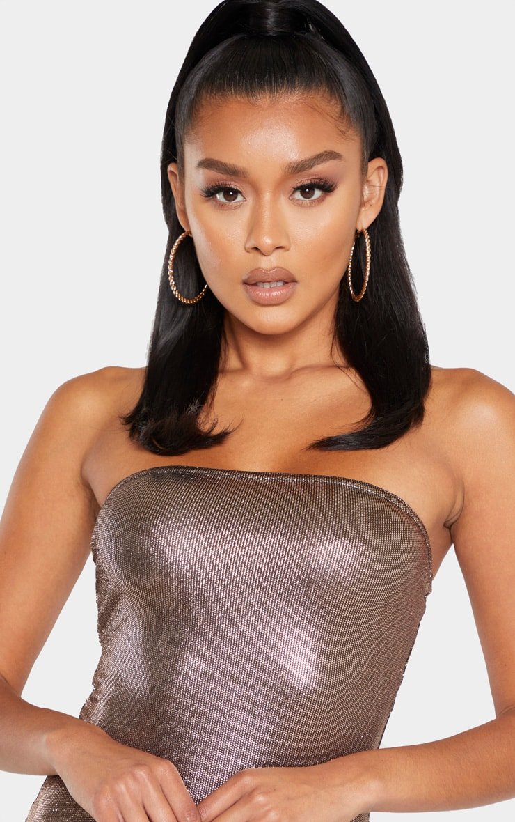Bronze Metallic Bandeau Bodysuit 5