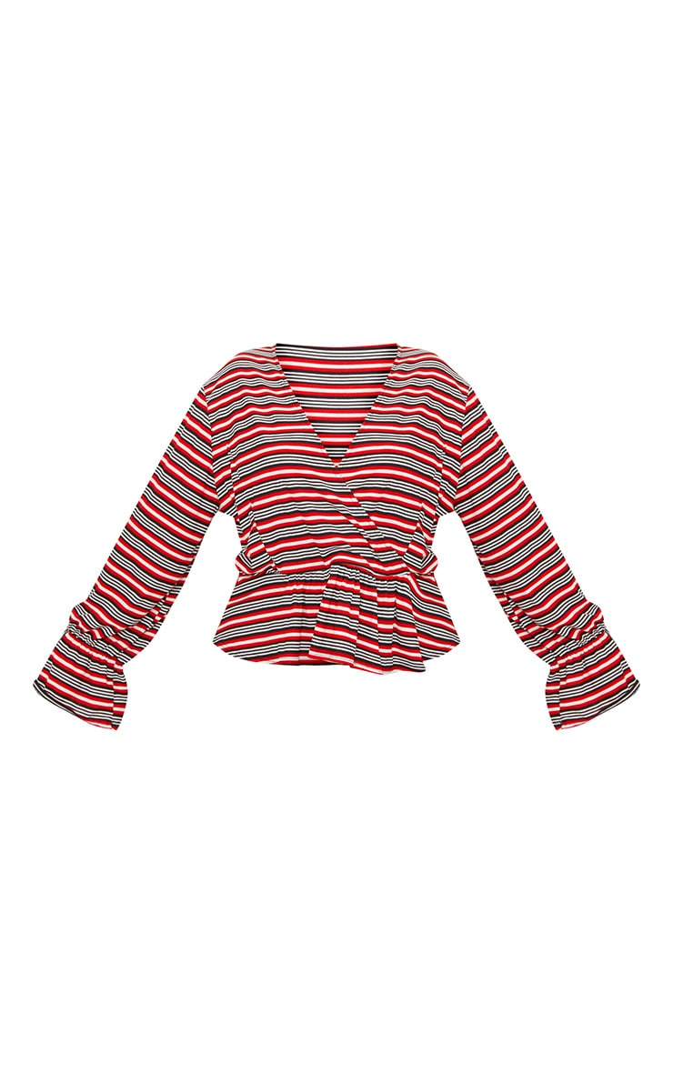 Plus Red Striped Deep Plunge Blouse  3